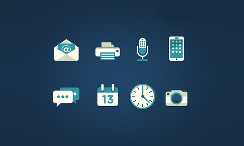 Flat Psd Icons Set