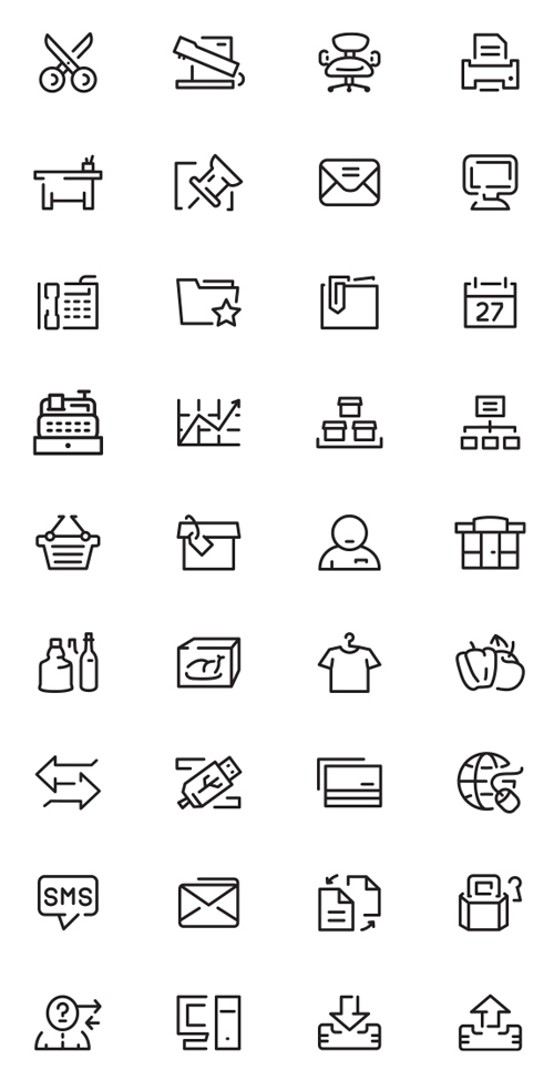 Simple Outlines Icons Set (36 Icons)