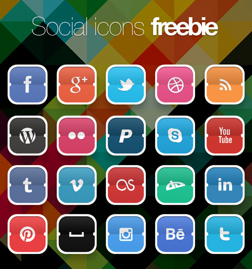 Free Funky Social Icons Set (20 Icons)