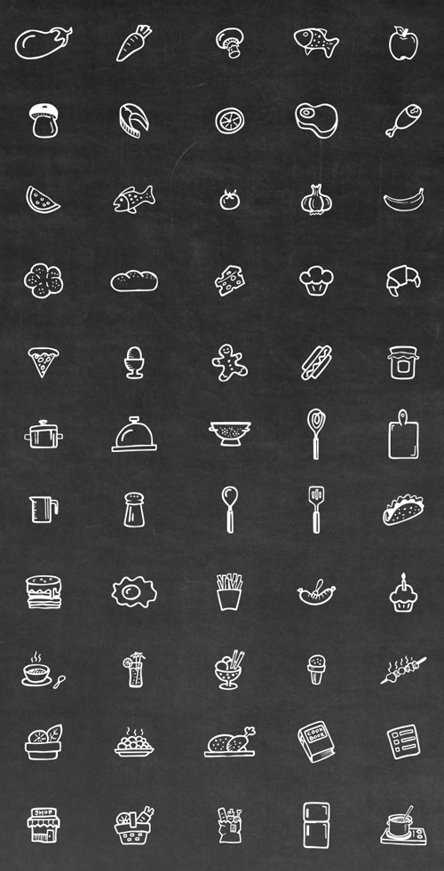 Hand Drawn Cooking Icons Set (55 Icons)