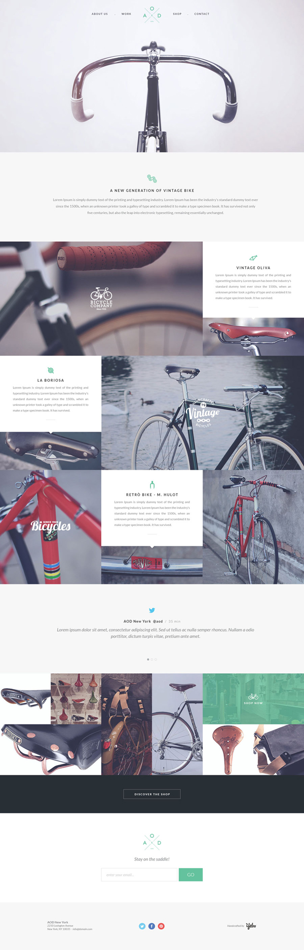 Bicycle – Flat One Page Template