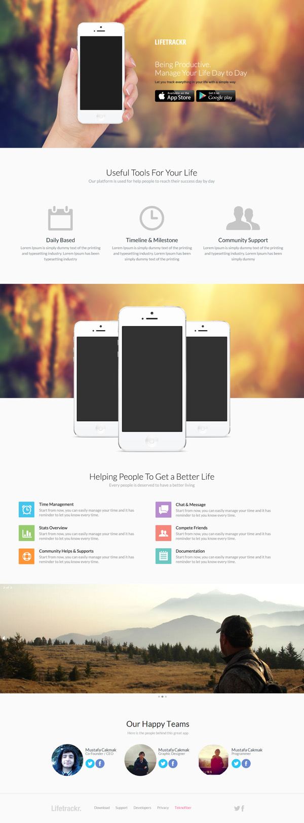 LifeTrackr - App HTML and PSD Template