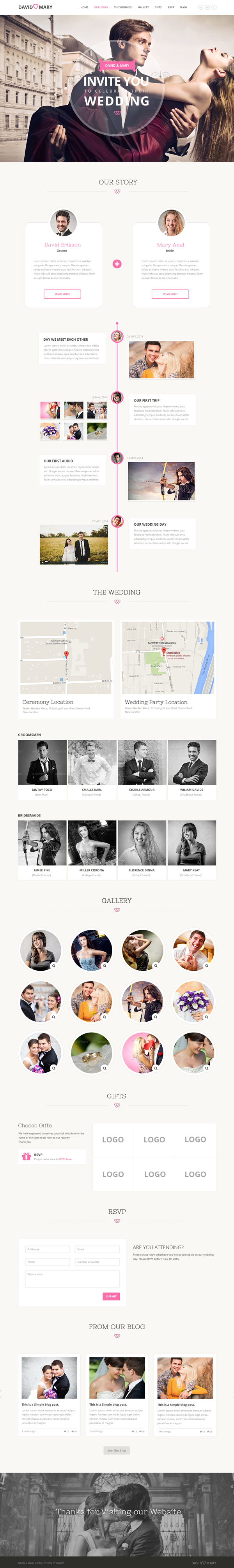 David & Mary - Event & Wedding PSD HTML5 Template