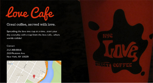 Love cafe (created using Onepagerapp)