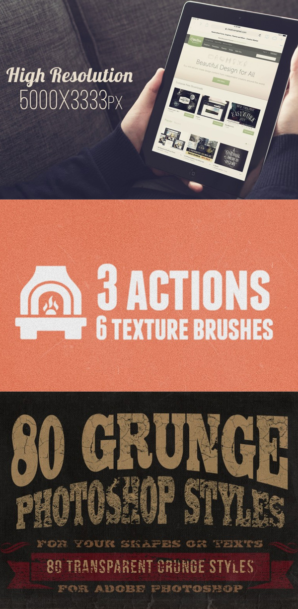 Hand-Sketched Vector Elements Mockups and Grunge Photoshop Styles