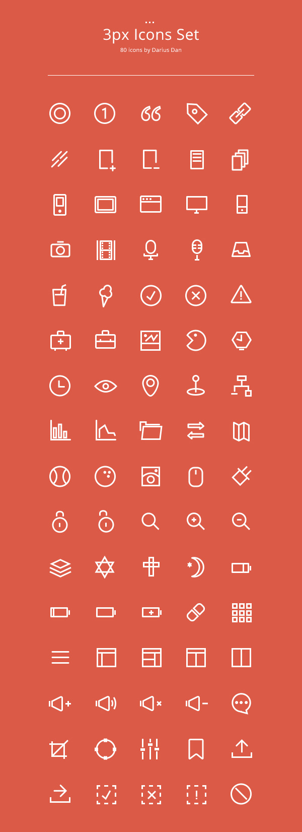 3px Outline Icons Set (80 Icons)