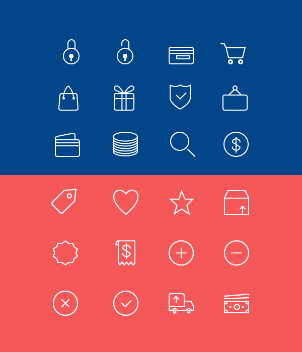 Ecommerce Line Icons (PSD, AI) (24 Icons)