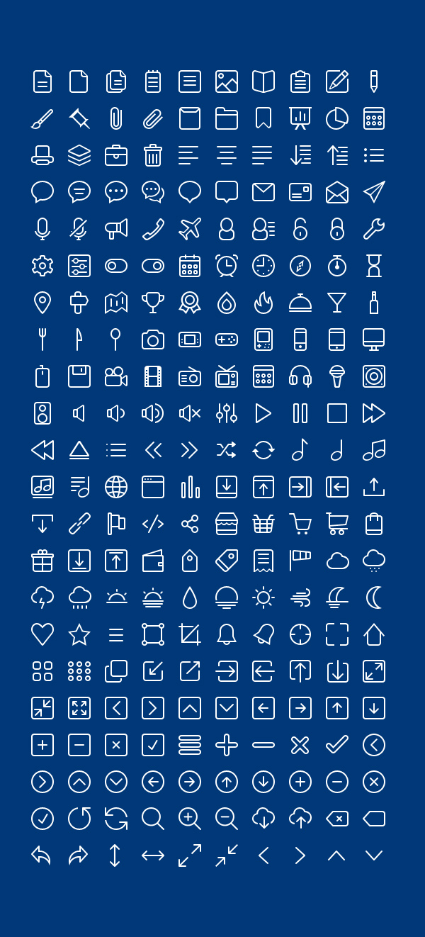 Free PSD Outline Icons (220 Icons)