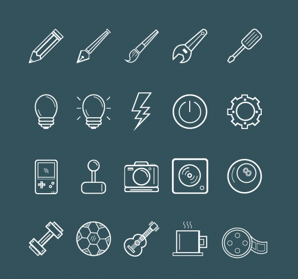 Fully Editable Line Art Icons (60 Icons)