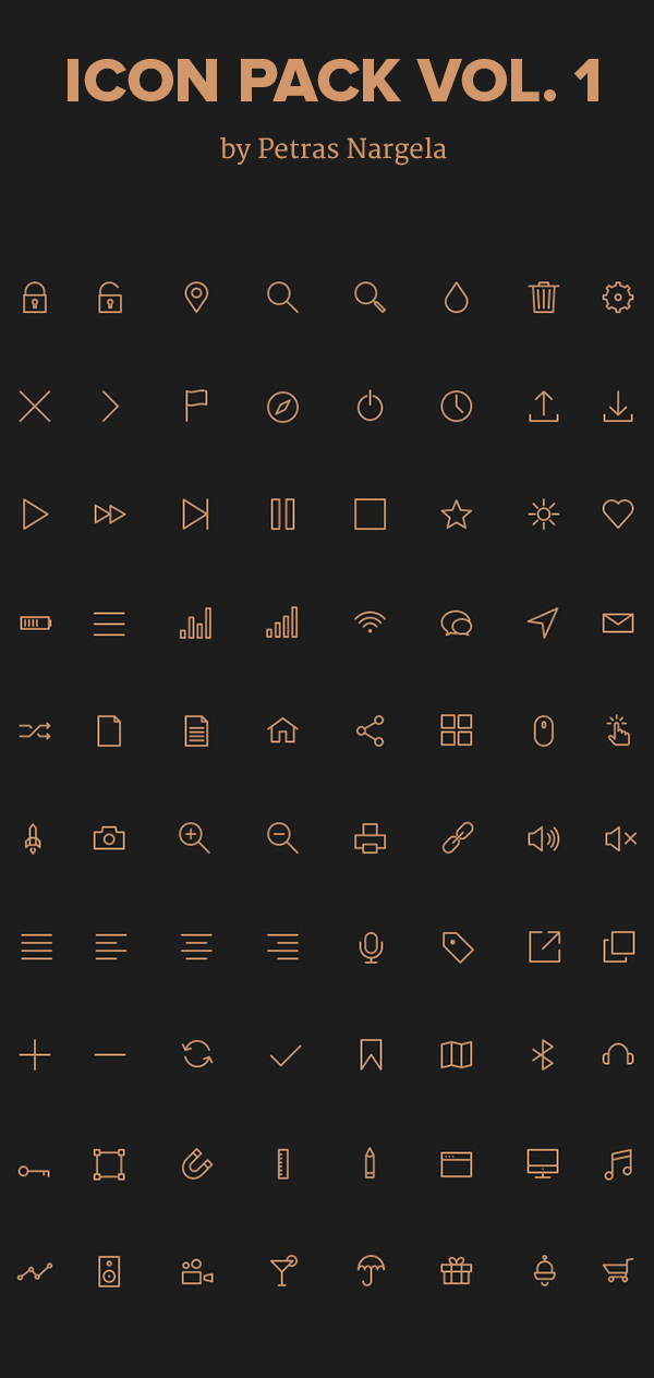 Stroke Icons in PSD, AI, SVG & Webfont (80 Icons)