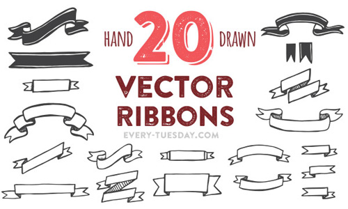 Hand Drawn Vector Ribbons PSD files
