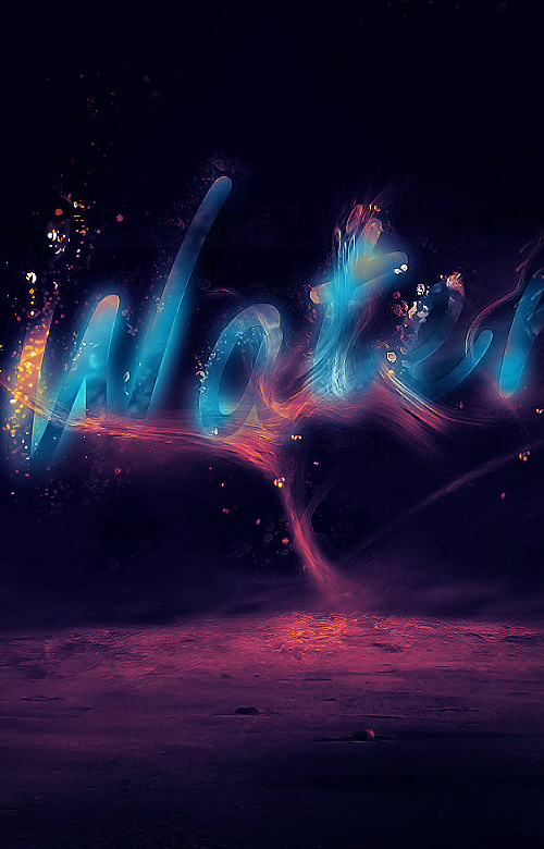 Create a Glowing Liquid Text with Water Splash Effect in Photoshop