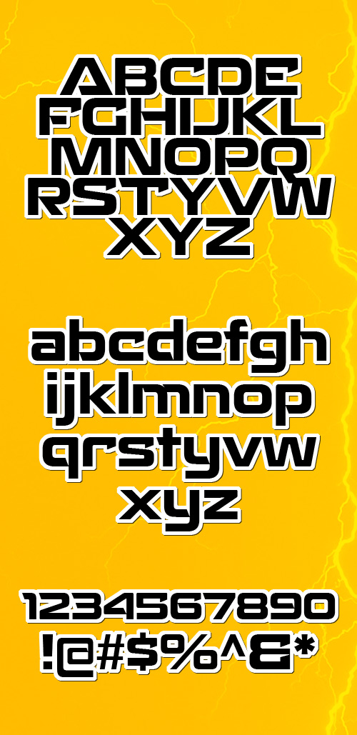 Recharge fonts glyphs