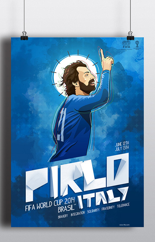 Fifa World Cup 2014 Pirlo Poster