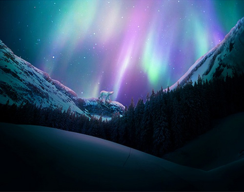 Create a Vivid Winter Aurora Landscape