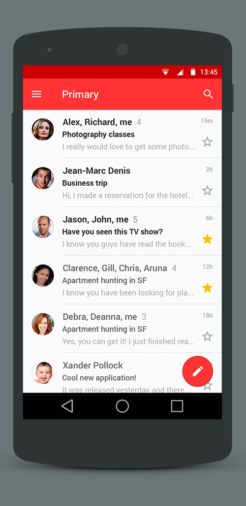 Android L Gmail User Interface Free PSD