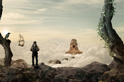 How to Create This Stunningly Surreal Artwork of a Secret Temple Above the Sky
