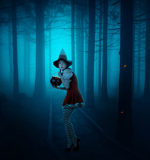 Create a Dark Photo Manipulation of a Young Witch in a Forest