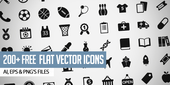 200+ Free Flat Vector Icons Pack