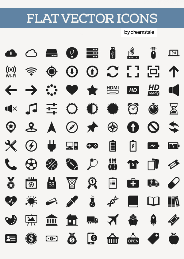 200  free flat vector icons pack