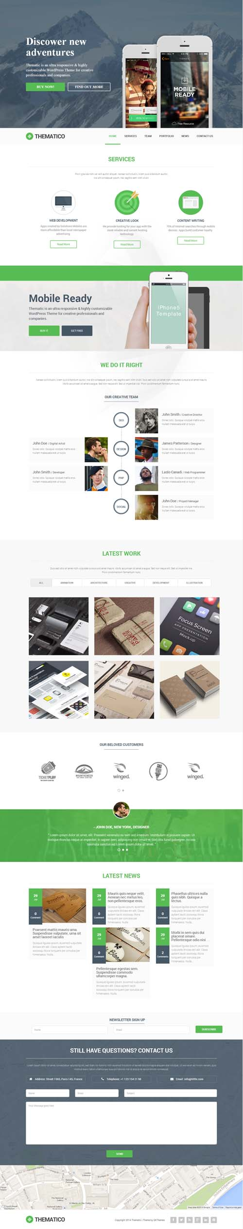 Thematico - One Page Creative WordPress Theme