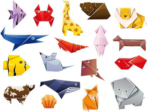 Cute Origami Animals Vector Graphics