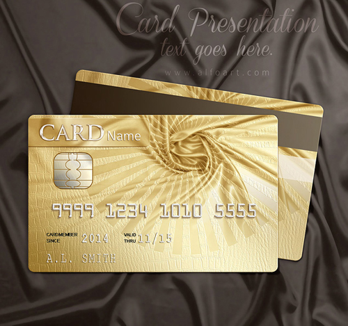Create Golden Glossy Effect Membership Card with Fabric Wrinkles and Snake Skin Pattern