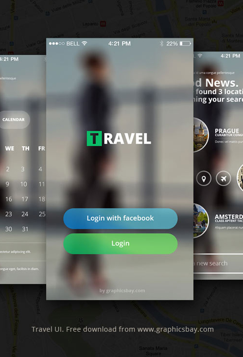 Free PSD Travel App