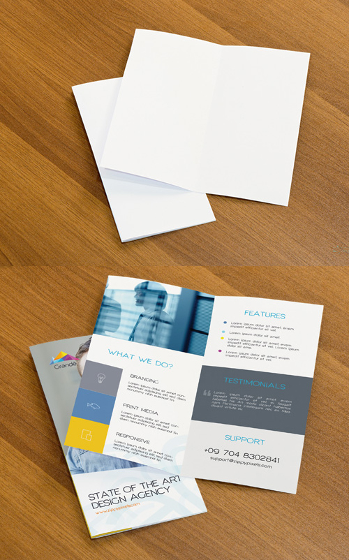 Free PSD Mockup of Two Bifold Flyers