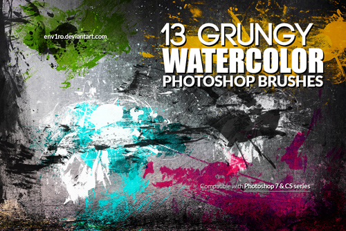 Grungy Watercolor Photoshop Brushes