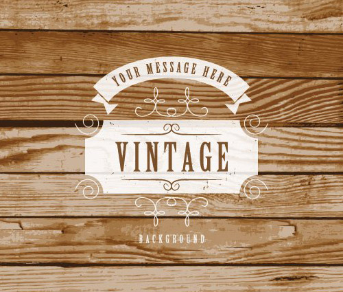 Vintage Label On Wooden Background Vector Graphic