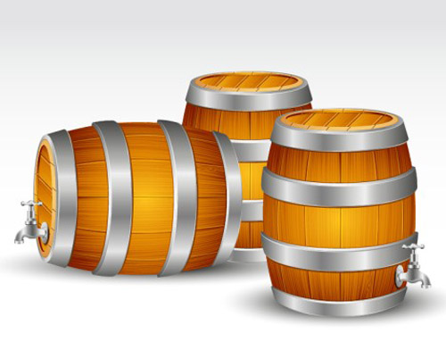 Wooden Barrels Vector Graphic