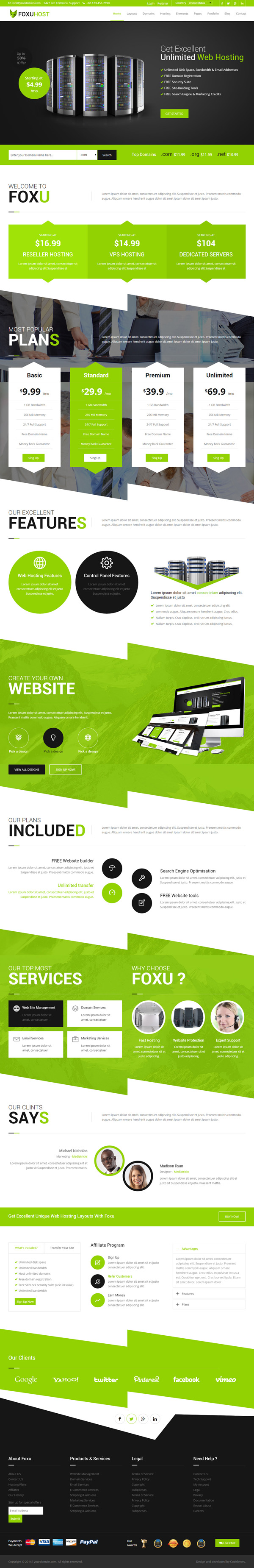Foxuhost - Web Hosting, Responsive HTML5 Template