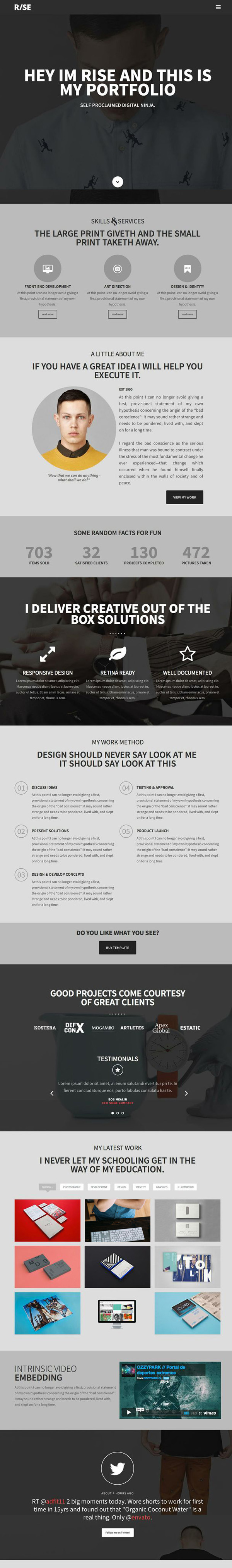 RISE -OnePage Agency Portfolio Template