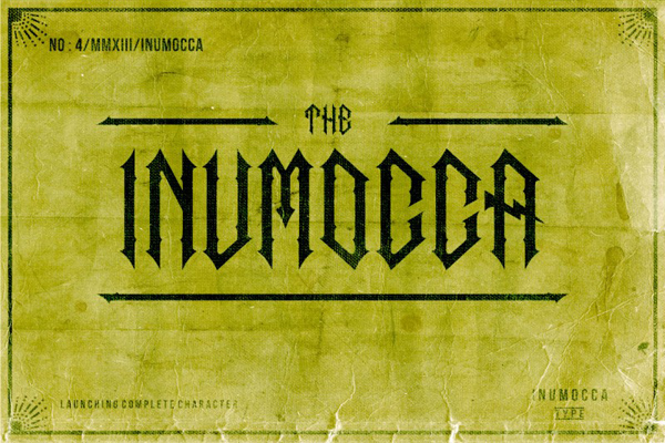 The inumocca inspired from gothic and electric lettering