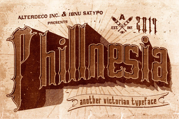 Phillnesia typeface is a victorian vintage style typeface