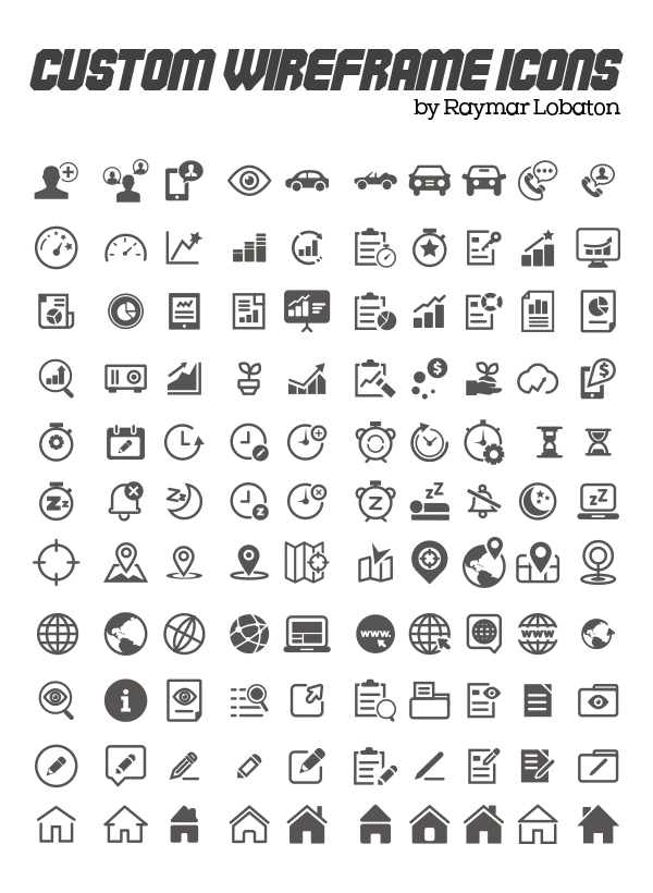 Custom Wireframe Icon Set (110 Icons)