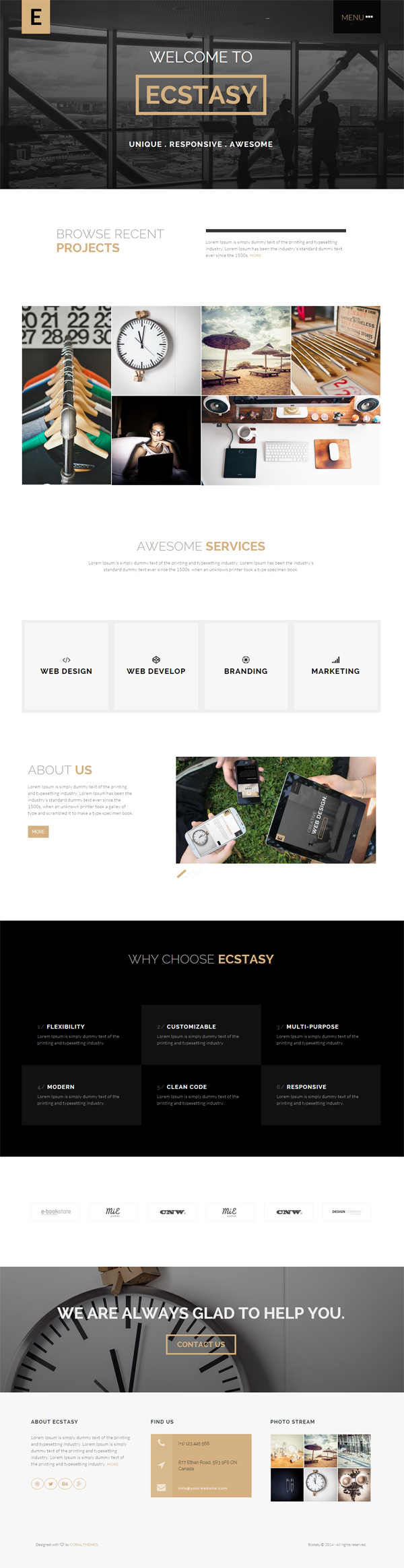 Ecstasy - Responsive HTML5 Multi-purpose Template