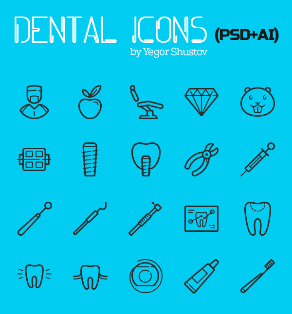 Free Dental Icon Set (20 Icons)