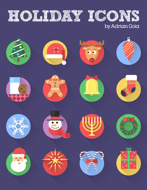 Free Holiday Icon Set Flat + Longshadown (16 Icons)