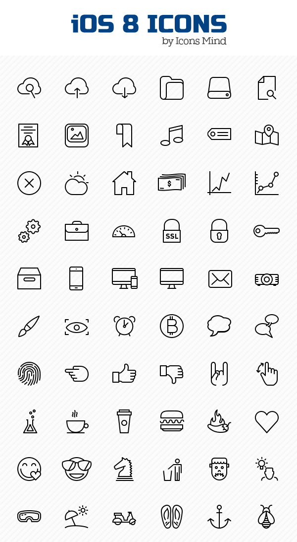 Free iOS 8 Icons Set (100 Icons)