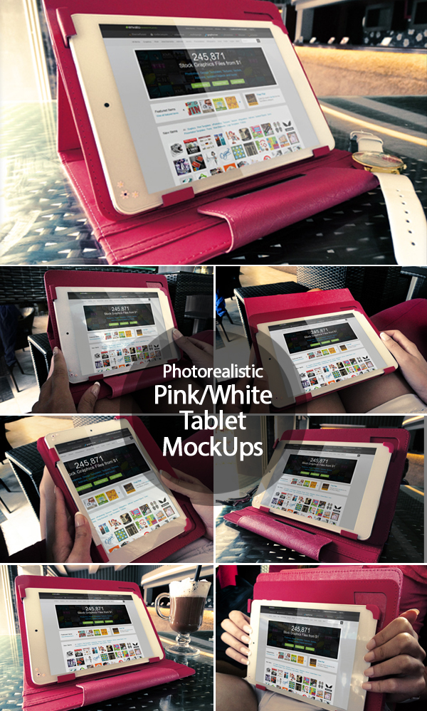 Photorealistic Pink/White Tablet Mock Ups