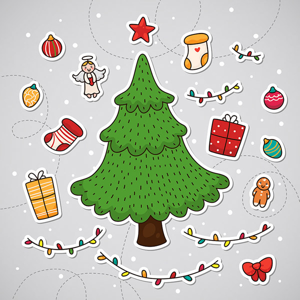 Sticker with Christmas tree