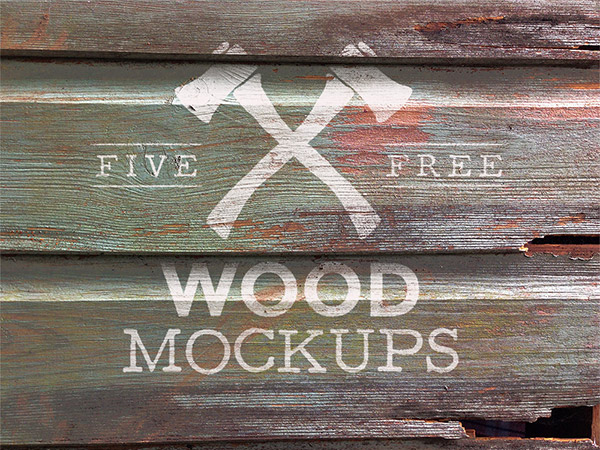 Weathered Wood Logo Mock Up Textures
