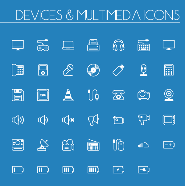 Devices Multimedia Line and Solid Icons