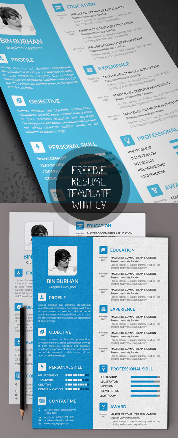 Free modern resume templates psd mockups freebies for Attractive resume templates free download