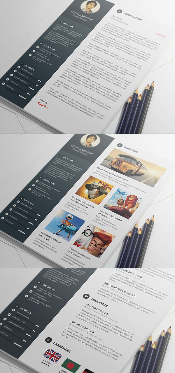 free creative resume template psd - Contemporary Resume Templates
