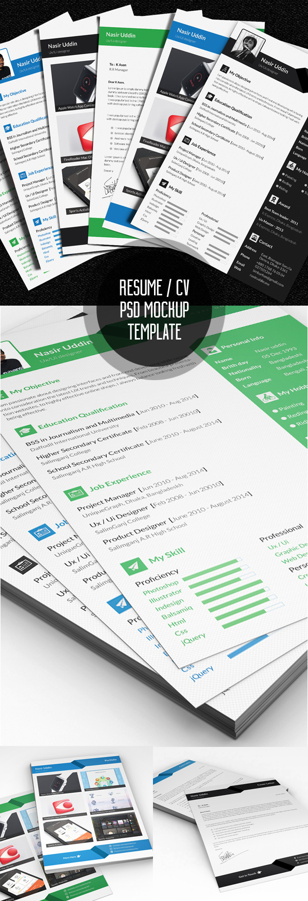 Free Multi-Page Resume PSD Template