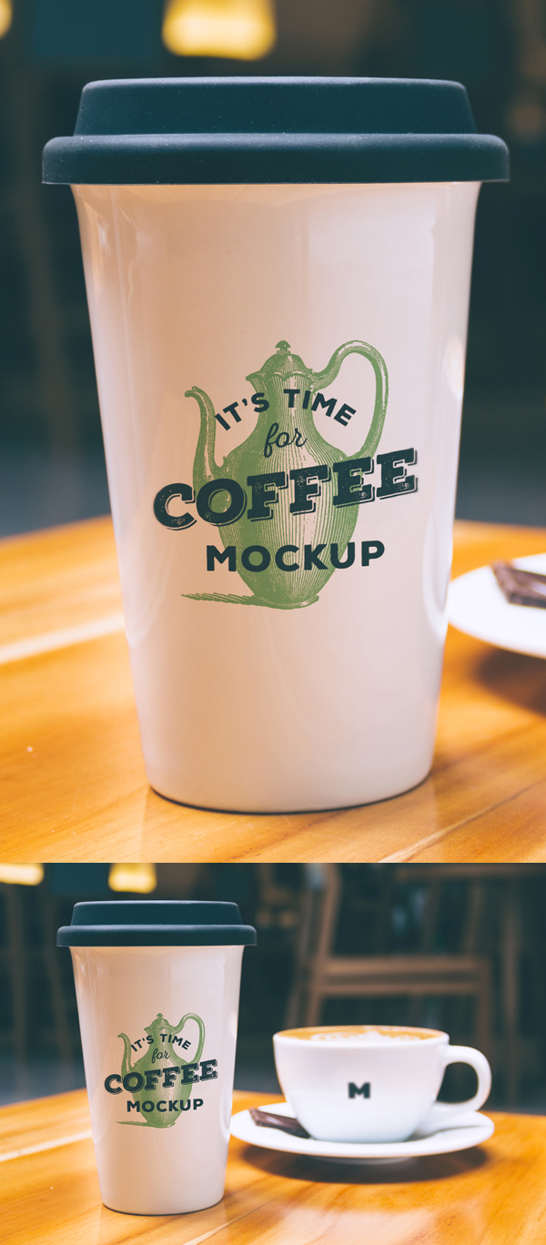 Realistic PSD Mockup of Coffee Cup Logo design