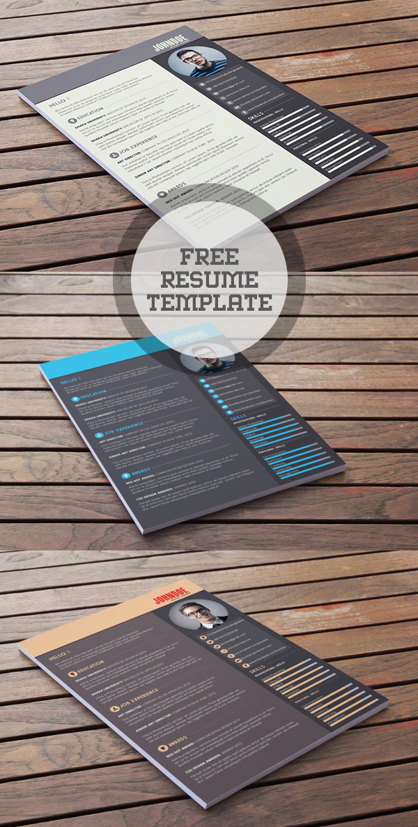 Free Resume PSD Template Download